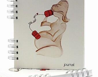 Blank Pregnancy Journal, Pregnancy Scrapbook, Baby Keepsake, or Pregnancy Announcement Gift, with Sketch Art - 'See You Soon' 240p