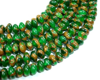 Green Mosaic Stone Beads, 5 x 8 mm Rondelle Beads, 15.5 Inch, Full strand, Approx 80 beads, Hole 0.8 mm (327053003)