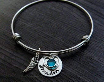 Wire Bangle / Forever in my heart / Hand Stamped / Personalized Bracelet / Memorial / Miscarriage Bracelet / Remembrance / Memorial