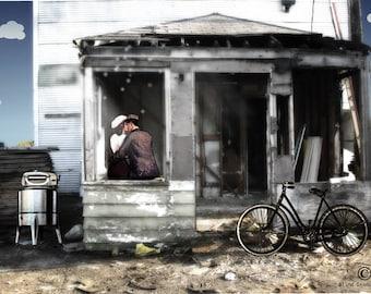 Art print - collage artwork w/ black mat - whimsical fine art - mix media - photography - love art - couple art - abandoned - bicycle art