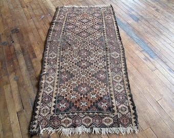 Vintage Persian rug, Persian Runner, Vintage Kilim Rug, Runner Rug, Hallway Runner Rug, Turkish rug 2x5 Brown Rug Multicolor Rug Neutral Rug