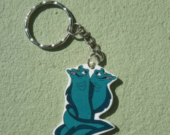 Disney inspired keyring featuring Flotsam and Jetsam from The Little Mermaid