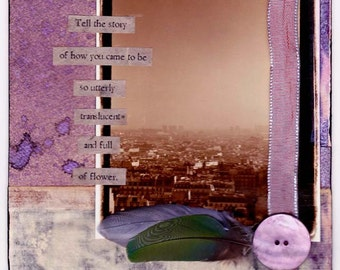 Tell the Story - small blank inspirational poetry art collage card/frameable print