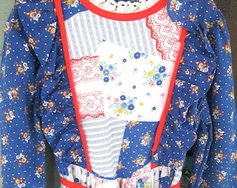 1970's Vintage child's size 10 Holly Hobbie style print Maxi Dress