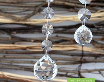 Hanging Crystal Balls - Glass Chandelier Drop - Wedding Prism
