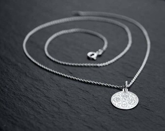 STERLING SILVER necklace, FLOWERS, charm engraved Folk Design, silver necklace with pendant