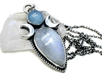 Rainbow Moonstone Necklace - Sterling Silver Moon and Star Necklace - Celestial Jewelry -Witchy - Wicca