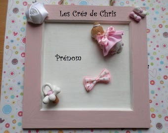 plaque to hang square and her baby in polymer clay.