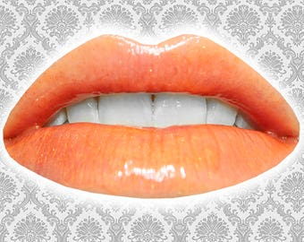 FIREBIRD Lip Gloss, Neon Orange Glitter Lip Glaze, Iridescent Lip Color, Orange Lip Gloss, Vanilla Flavor, VEGAN Lip Gloss, TAT 5-8 Days