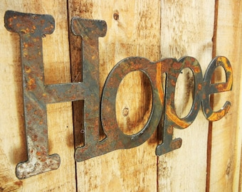 Hope, Metal Word Art for Indoors or Outoors