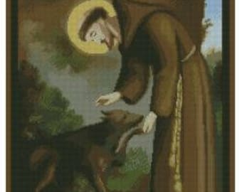 Saint Francis of assisi cross stitch pattern