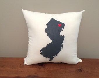New Jersey Pillow with Optional Heart