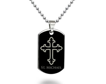 Cross Dog Tag Necklace, Personalized Engrave Stainless Steel Dog Tag Necklace, Black Dog Tag Necklace SHJSSN519