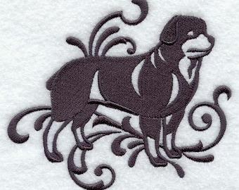 Elegant Damask Rottweiler Embossed Style Embroidered Flour Sack Hand/Dish Towel