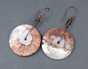 Dramatic long rusty washer earrings by Mary Heuer