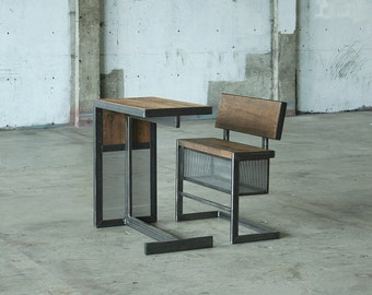 nook fliptop bench with storage and air table - from reclaimed wood and recycled content steel - modern industrial - bench with storage only