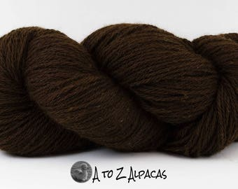 SUPER-SIZED SKEIN! Royal Baby Alpaca Yarn Aran Weight Natural Dark Brown Large 200 gram skein