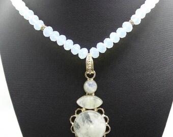 Handmade Moonstone Beaded Necklace with Rainbow Moonstone Pendant.