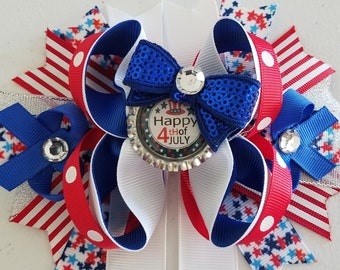 4th Of July Hair Bow - Happy 4th of July 6 inch