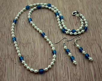 Sapphire Necklace And Earrings - Pearl Necklace - Pearl Earrings - Matching Jewelry Set - Classic Design - Glass Pearls - Czech Glass