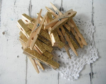 gold glittered clothing pegs wedding decor holiday decor glitter pegs glitter pins gold pegs cottage chic decor french country - 18 pieces