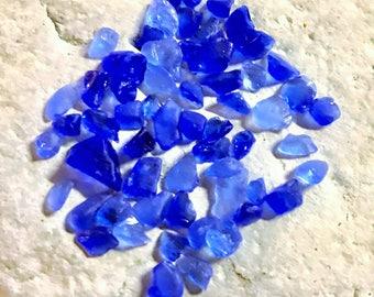 50 Micro Pcs of Genuine Cobalt & Cornflower Blue Sea Glass Surf Tumbled Shards Accent Pieces