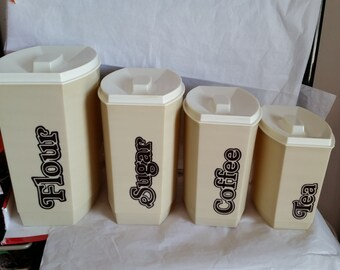 Vintage Hard Plastic 70's Canister Set of 4 Piece Beige Retro Kitchen