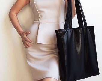 Liquid Metallic Black Tote Bag - Tote Bag - Convenience Bag - Everyday Bag - Book Bag - Laptop Bag - Magazines Bag - New York Tote Bag