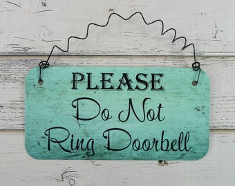 Sign PLEASE DO NOT Ring Doorbell  Metal With Curly Wire Cute Sign For Front Door Do Not Disturb Baby Sleeping