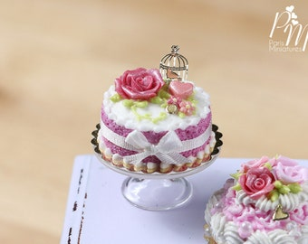 Pink Cake Decorated with Pink Rose, Heart, Golden Birdcage - Tiny Miniature Food in 12th Scale for Dollhouse