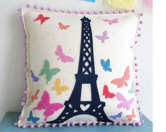 Paris Eiffel Tower and Butterfly Pillow in Pastels and Navy Blue felt with Lavendar Pom Fringe