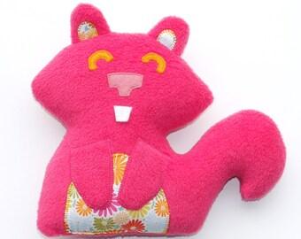 Rosa Eichhörnchen-Plüsch, Stofftier, Baby-Geschenk, süß, knuffig, Stuffie, huggable, Kind freundlich, Plüschtier