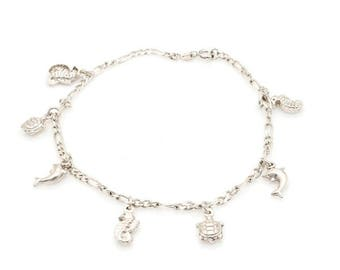 Sterling Silver Ocean Theme Charm Bracelet