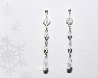 Ice Drop Silver and Clear Beads Dangle Earrings