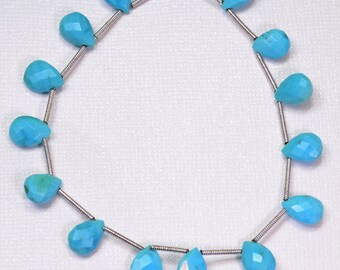 "Sleeping Beauty Turquoise Faceted Pear Briolette Beads 7"" Strand"