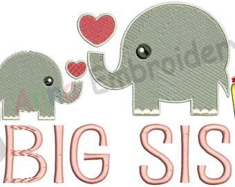 Big Sister Embridery Design- Big Sis Machine Embroidery -Elephant Design-Instant Download-PES