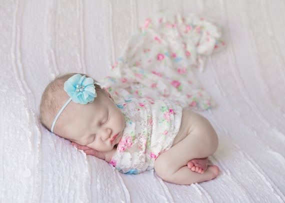 Stretch Lace Wrap in Pink and Blue Floral Print AND/OR Chiffon Flower headband, newborn swaddle, newborn photo, Lil Miss Sweet Pea