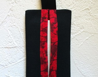 Fabric Travel Tissue Case - Black with Red Print Lining - Fabric Pocket Tissue Holder