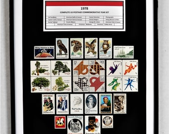 1978 Complete US Postage Commemorative Year Set - Birth Year Gift - Postage Art