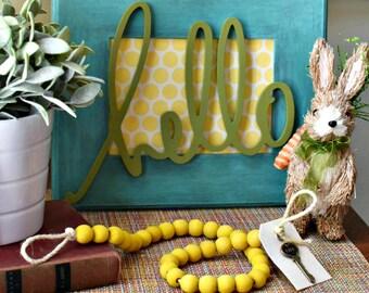 Yellow Wood Bead Garland - Yellow Wood Ball Garland - Key to Decor Beads Yellow Garland - Yellow Ball Garland - Yellow Wood Bead Garland