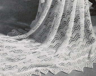 Shetland Isles Shawl with VanDyke Lace Border Vintage Pattern PDF / Knitted women's shawl / Antique shawl pattern / wedding shawl