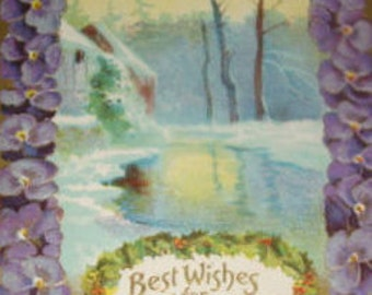 Pretty Vintage Senic/Floral New Years Postcard