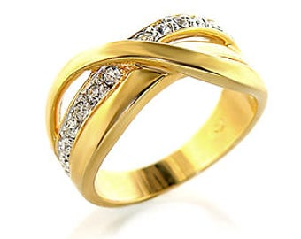 Ring - ref6x222-gold plated - set CZ over 180 degrees
