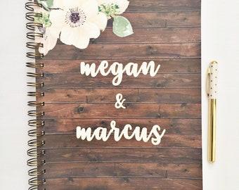 Custom Wedding planner, wedding planner book, bridal planner, wedding organizer, wedding checklist, wedding binder, gift for her, rustic