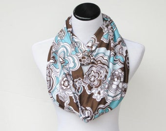 Infinity scarf bohemian soft jersey knit scarf circle scarf loop scarf teal brown flowers snood scarf - boho scarf gift idea for her