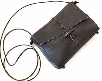 Black Deerskin Cross Body Handbag Lined in Suede
