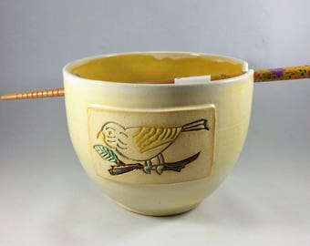 Ceramic Noodle Bowl with Wren in Marigold and Cream, with Chopsticks, Ready to Ship