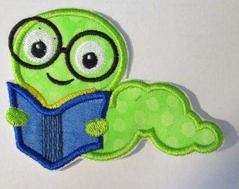 Bookworm Reading a Book - Iron On or Sew On Embroidered Applique
