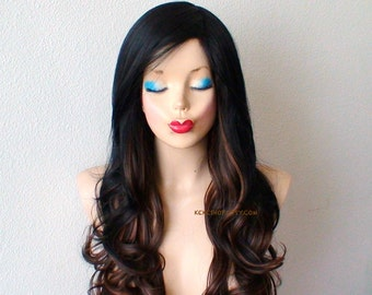 Black/Brown/Auburn Ombre wig. Long curly hair wig. Heat resistant synthetic wig for daytime use or Cosplay.
