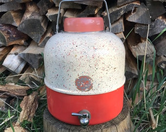 Vintage Picnic Jug * Icy Hot 1 Gallon Insulated Thermos * Peach Coral Pink Aqua Splatter